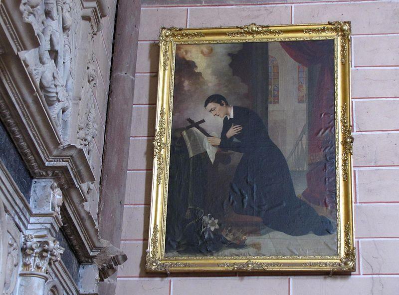 Pintura de Luis Gonzaga en la Abadía de Marmoutier, Alsacia , Francia